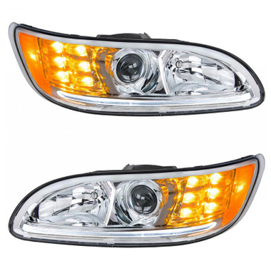 Peterbilt 382 384 386 387 Chrome Projector Headlights With Amber LED Marker Light & Dual Function LED Glow Light Questions & Answers