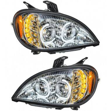 Freightliner Columbia Chrome Full LED Headlight With LED Light Bar Questions & Answers