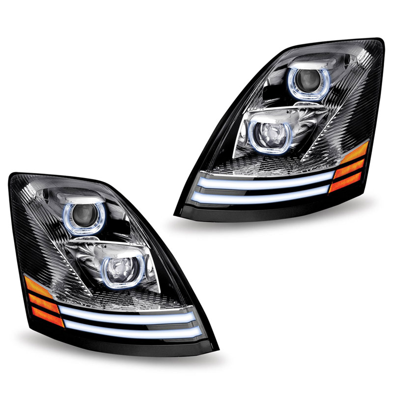 Volvo VNL & VT Chrome Projector Headlight With LED Dual Function Turn Signal 2004-2018