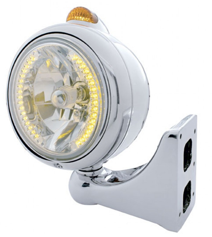 """How much is the driver side only Chrome """"Guide"""" Headlight - 34 LED Crystal H4 Bulb w/ 5 Amber LED/Amber Lens Dual F"""
