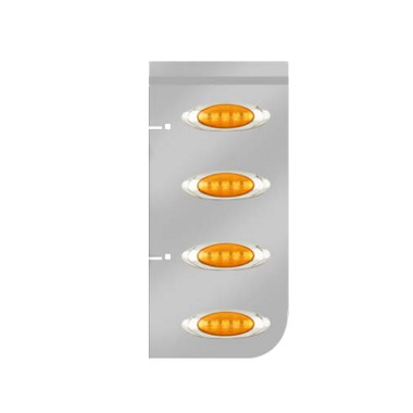 Kenworth Stainless Steel Hood Extension Panels With P1 Style Amber LED Questions & Answers