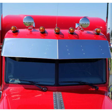 """Peterbilt 389 Pride And Class 14"""" Stainless Steel Drop Visor No Drilling Required Questions & Answers"""