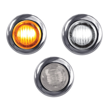 Mini Button Dual Revolution Amber & White LED Marker Light
