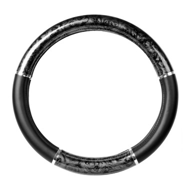 """18"""" Black Wood Steering Wheel Cover With Chrome Trim By Grand General Questions & Answers"""
